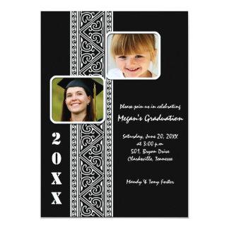 Elegant panel -Black Graduation Party invites