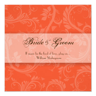 Elegant papaya brown wedding engagement card