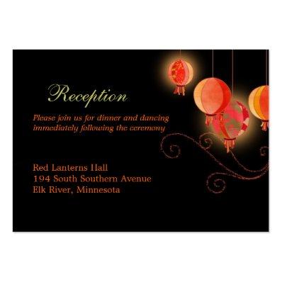 Elegant Paper Lanterns Wedding Reception Enclosure Large Business Card