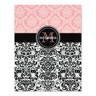 Elegant Paris Baby Pink Black Damask Personalized Card