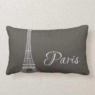 Elegant Paris Eiffel Tower Dark Gray Burlap Look Lumbar Pillow