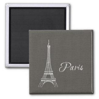 Elegant Paris Eiffel Tower Dark Gray Burlap Look Magnet