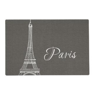 Elegant Paris Eiffel Tower Dark Gray Burlap Look Placemat