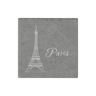 Elegant Paris Eiffel Tower Dark Gray Burlap Look Stone Magnet