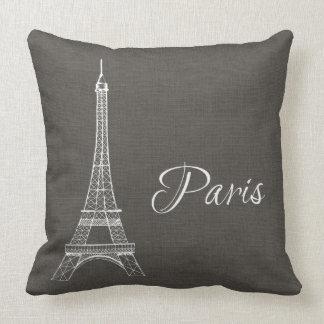 Elegant Paris Eiffel Tower Dark Gray Burlap Look Throw Pillow