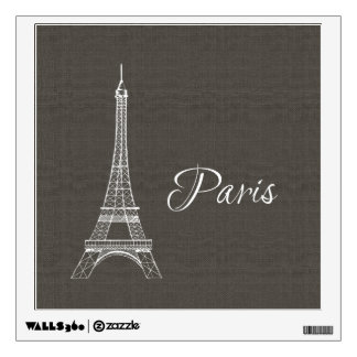 Elegant Paris Eiffel Tower Dark Gray Burlap Look Wall Decal