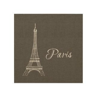 Elegant Paris Eiffel Tower Dark Gray Burlap Look Wood Wall Decor