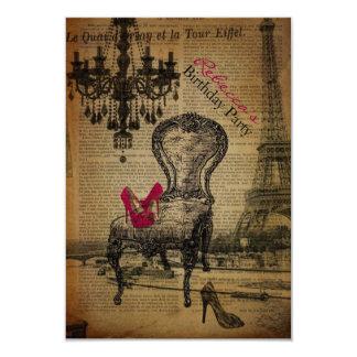 elegant paris french  vintage birthday party 3.5x5 paper invitation card