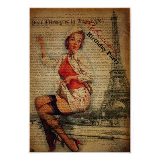 elegant paris french  vintage birthday party custom invitations