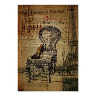 elegant paris french  vintage birthday party personalized invitation