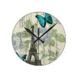 elegant paris vintage butterfly eiffel tower wallclocks
