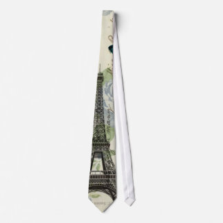 elegant paris vintage butterfly eiffel tower neck tie
