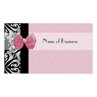 Elegant Parisian Damask Pink Ribbon Double-Sided Standard Business Cards (Pack Of 100)