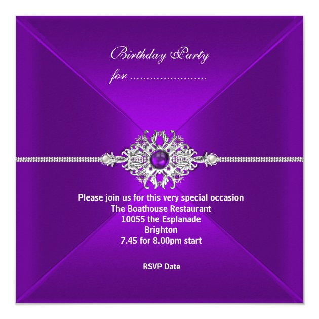 Elegant Party All Occasions Purple Silver Jewel Invitation ...