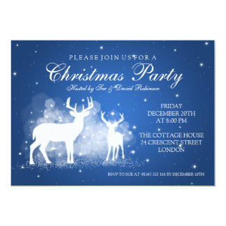 Elegant Party Deer Sparkle Blue 5x7 Paper Invitation Card