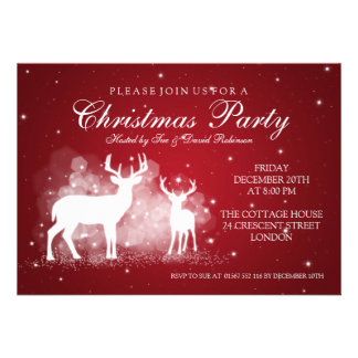 Elegant Party Deer Sparkle Red Announcement
