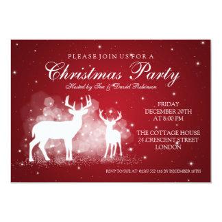 Elegant Party Deer Sparkle Red 5x7 Paper Invitation Card