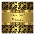 Elegant Party Gold Black Floral Invite