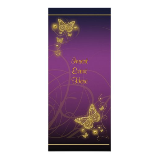 Elegant party gold butterfly floral purple pink invite