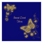 Elegant party gold butterfly heart blue royal invitation