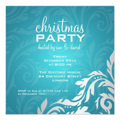 Elegant Party Invitation Swirly Flourish Blue Custom Invites