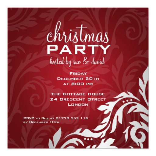 Elegant Party Invitation Swirly Flourish Red Personalized Invites