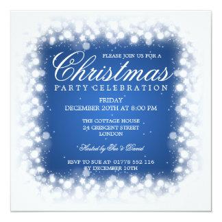 Elegant Party Magic Sparkle Blue 5.25x5.25 Square Paper Invitation Card