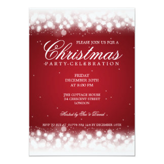 Elegant Party Magic Sparkle Red Card