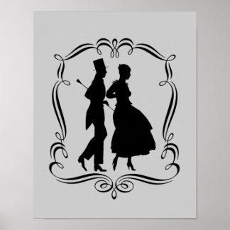 Elegant Party Man Woman Silhouette Art Poster