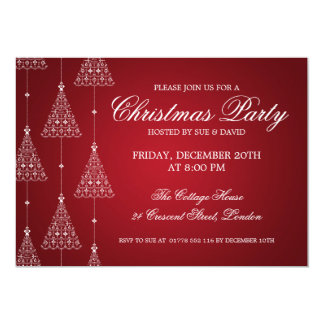 Elegant Party Merry Christmas Trees Red 5x7 Paper Invitation Card