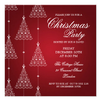 Elegant Party Merry Christmas Trees Red Custom Invitations