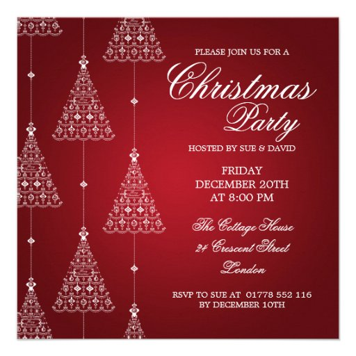 Elegant Party Merry Christmas Trees Red Custom Invitations