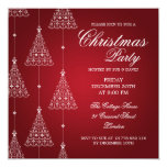 Elegant Party Merry Christmas Trees Red 5.25x5.25 Square Paper Invitation Card