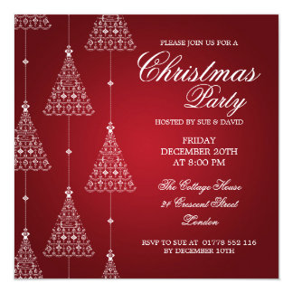 Elegant Party Merry Christmas Trees Red Invitation