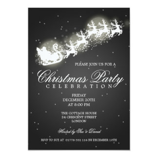Elegant Party Santa Sparkle Black 5x7 Paper Invitation Card