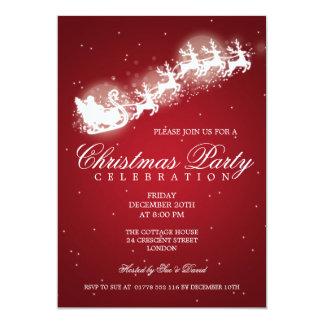 Elegant Party Santa Sparkle Red 5x7 Paper Invitation Card