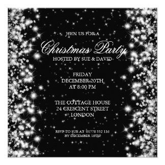 Elegant Party Sparkle Black Custom Invites