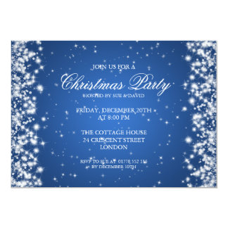 Elegant Party Sparkle Blue 5x7 Paper Invitation Card