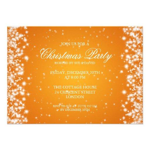 Elegant Party Sparkle Orange Custom Invitations