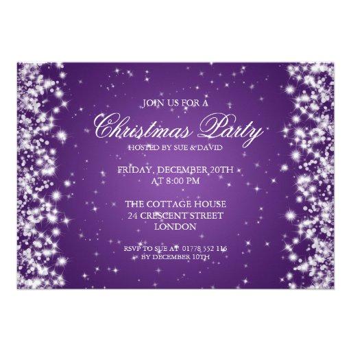 Elegant Party Sparkle Purple Custom Invitation