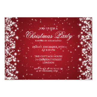 Elegant Party Sparkle Red 5x7 Paper Invitation Card