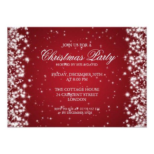 Elegant Party Sparkle Red Invites
