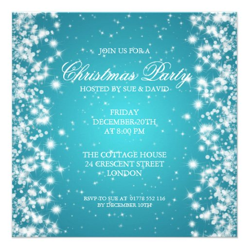 Elegant Party Sparkle Turquoise Personalized Invitations