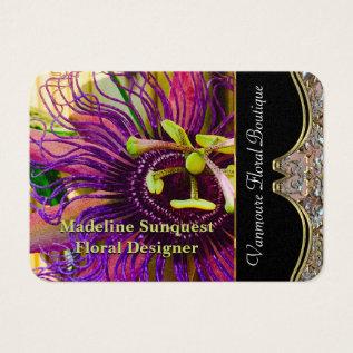 Elegant Passion Flower Professional Florist Business Card at Zazzle