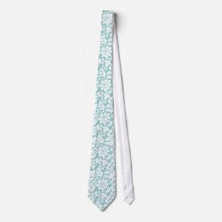 Elegant Pastel Blue And White Floral Damasks Tie