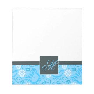 Elegant pastel blue Notepad with Monogram