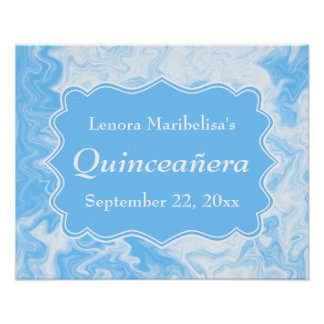 Elegant Pastel Blue Quinceanera Poster