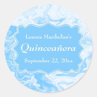 Elegant Pastel Blue Quinceanera Stickers