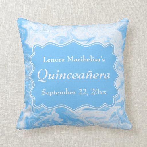 Elegant Pastel Blue Quinceanera Throw Pillow Zazzle
