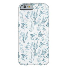 Elegant pastel blue vintage butterfly floral barely there iPhone 6 case